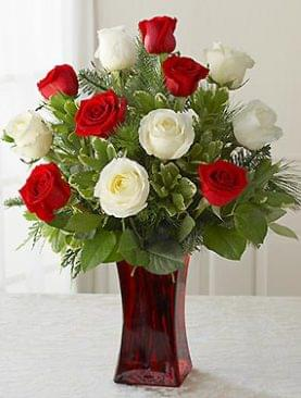 Long-Stemmed White and Red Roses